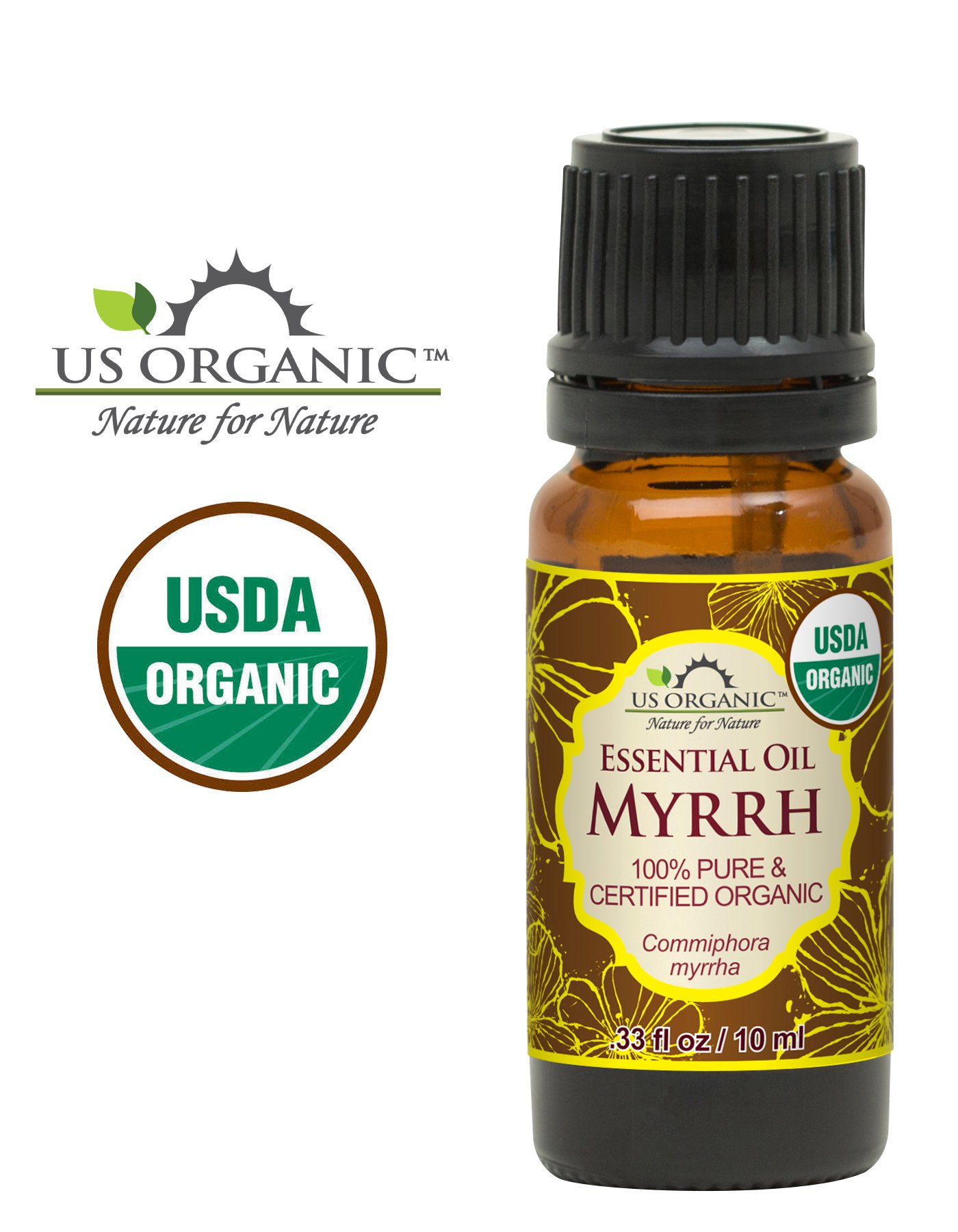 US Organic 100% Pure Myrrh (Commiphora myrrha) Essential Oil - Directly sourced from The Horn of Africa - USDA Certified Organic - Use Topically or in Diffuser - Suitable for All Skin Types (10 ml)