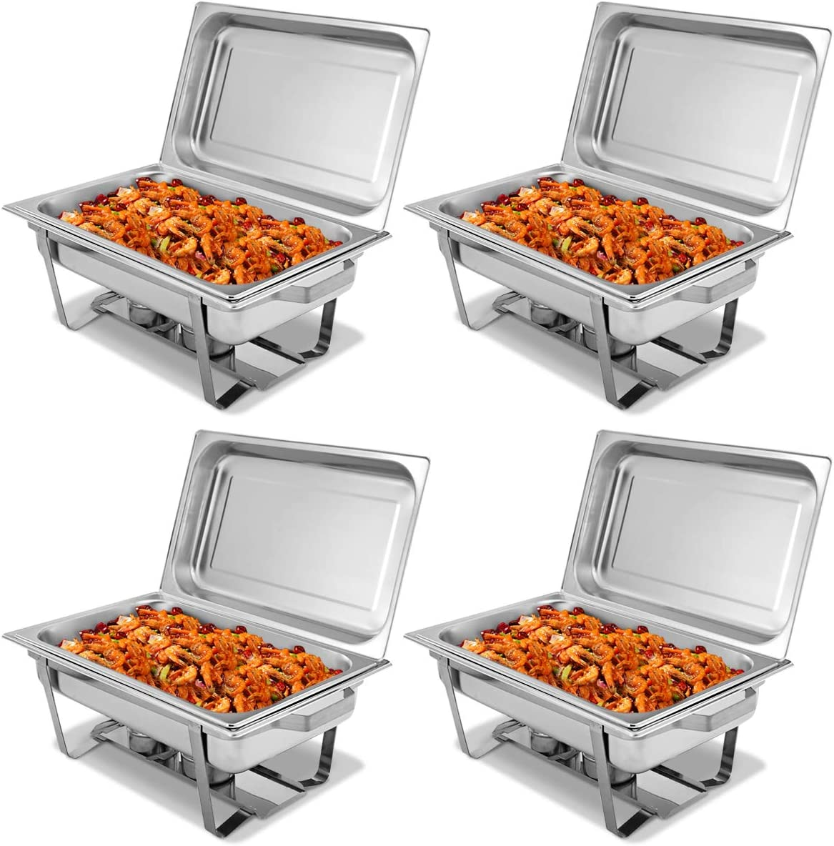 Giantex 4 Packs Chafing Dish 8 Quart Stainless Steel Chafer for Home Commercial Kitchen Party Catering Buffet Warmer Set w/Rectangular Full Size Pan, Fuel Holder