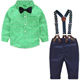 Yilaku Baby Boy Summer Clothes Set Plaid Shirt + Bowtie + Suspender Pant 4pcs Toddler Boy Infant Gentleman Outfits Suit
