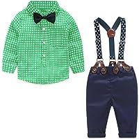 Yilaku Baby Boys Clothes Set 4pcs Summer Newborn Infant Outfits Gentleman Suit Suspender Trousers+Shirt+Bow Tie