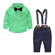 Yilaku Toddler Boys Outfits Suit Infant Clothing Newborn Baby Boy Clothes Sets Gentleman Plaid Top+Bow Tie+Suspender Pants (9-12 Months, Green)