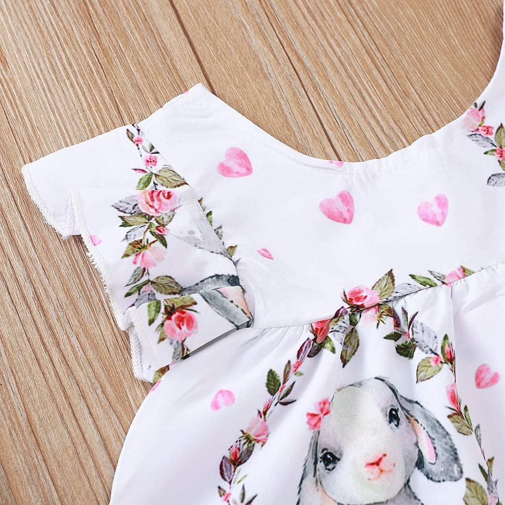 Eliasan Toddler Kids Baby Girls Easter Princess Dress Cartoon Rabbit Bunny Pritn Dresses Sleeveless Cotton Party Dress Clothes Summer Outfits 6-24 Months