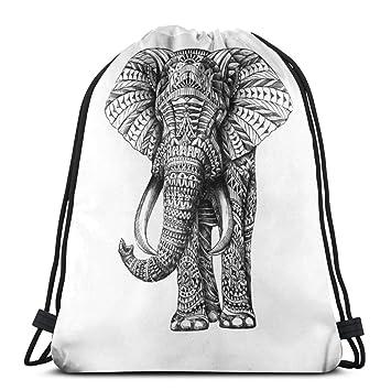 YuYfashions Mochila con cordón Ornate Elephant Drawstring ...
