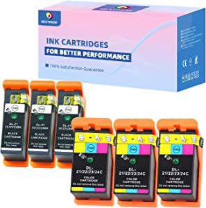 Compatible Dell Series 21 Ink Cartridges Replacement for Dell Series 21 Series 22 Series 23 Series 24 Ink Cartridges Work with Dell V313 V313W V515W P513W P713W V715W, 3 Black and 3 Color 6 Pack