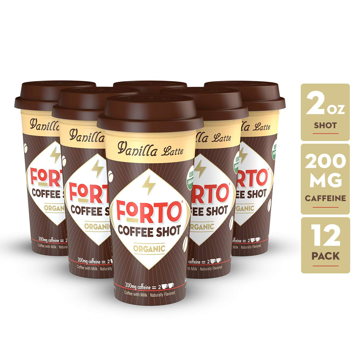FORTO Coffee Shots - 200mg Caffeine, Vanilla Latte, Ready-to-Drink on the go, Cold Brew Coffee Shot - Fast Coffee Energy Boost, 12 Pack by FORTO