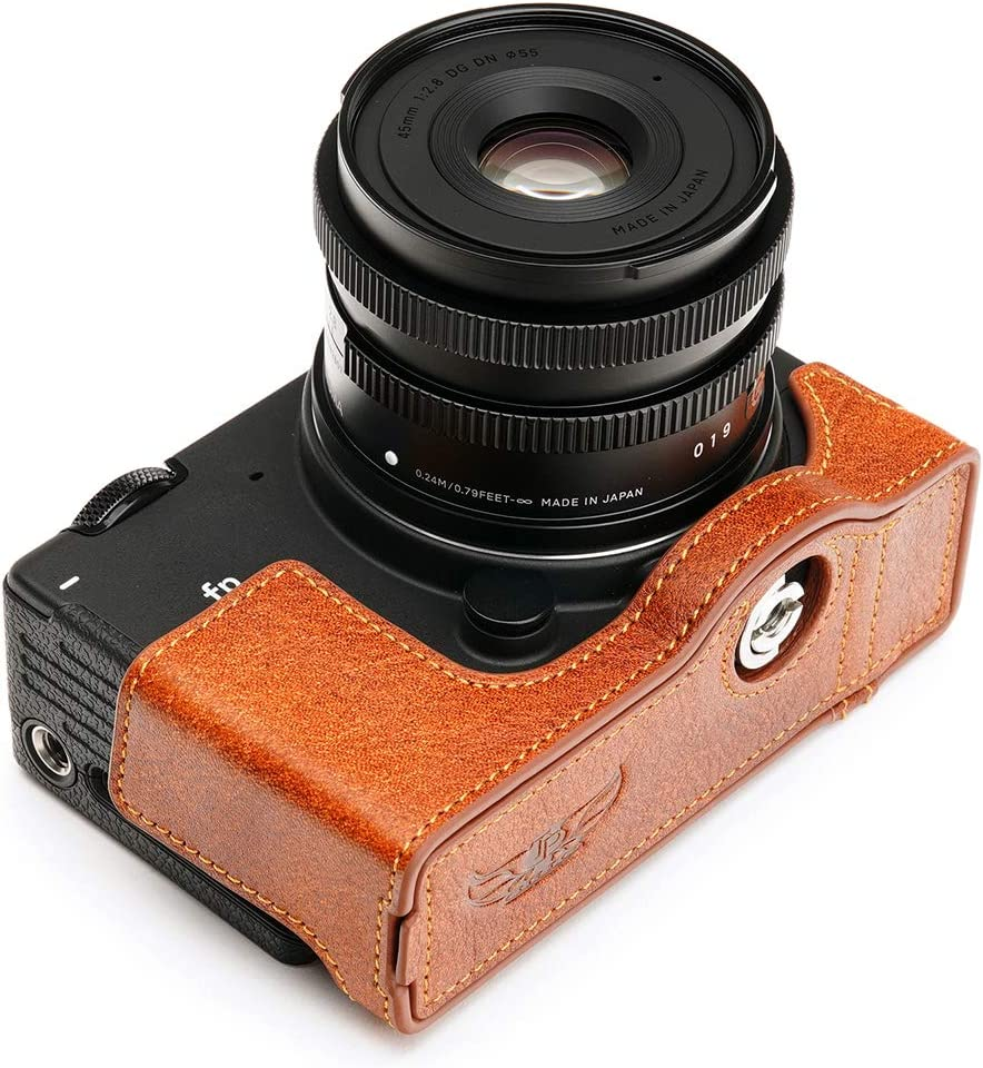 Hand Strap Coffee Sigma FP Camera Case BolinUS Handmade Genuine Real Leather Half Camera Case Bag Cover for Sigma FP Camera Bottom Opening Version