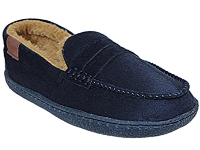 Jo & Joe Boys New Hampshire Faux Suede Fur Lined Moccasin Slippers Shoes  Size 1-