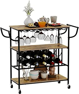 Gadroad Industrial Bar Cart with Wine Rack and Glass Holder for Home, Mobile 3-Tier Kitchen Serving Storage Cart with Lockable Wheels, Utility Wine Trolley with Handle Rack, Rustic Brown