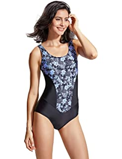 97e9252569e DELIMIRA Women's One Piece Swimsuit Plus Size Floral Print Padded Bathing  Suit