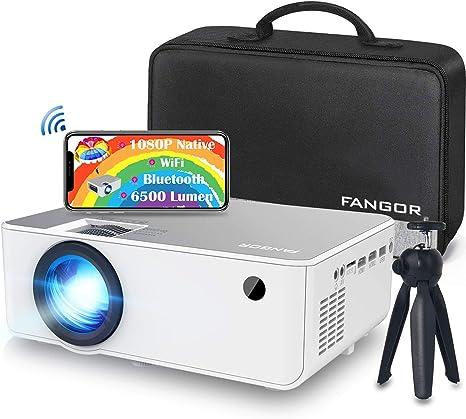 FANGOR - Videoproyector Full HD WiFi Bluetooth Natif 1080P - Mini retroproyector portátil inalámbrico para cine en casa, compatible con smartphone TV Stick