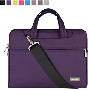 Qishare 11.6 12 inch Laptop Case Laptop Shoulder Bag, Multi-functional Notebook Sleeve Carrying Case With Strap for Notebook Microsoft Surface Pro 6/5/4/3 Macbook Air 11 12(Purple)
