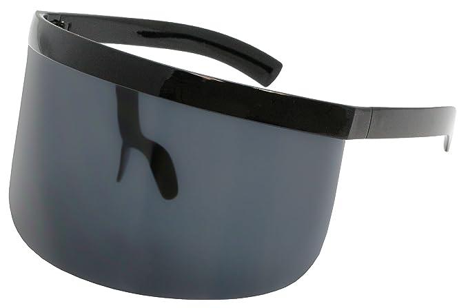 4dbba2435d92b Elite Futuristic Oversize Shield Visor Sunglasses Flat Top Mirrored Mono  Lens 172mm (Black