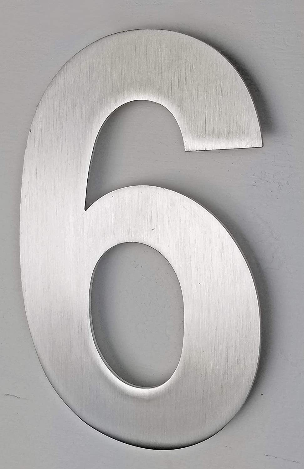 """NACH Stainless Steel Arial Number - Satin Finish Stainless Steel House Numbers for Home Decor - Hidden Anchor Mounted Address Numbers - 6""""x4""""x0.4"""""""