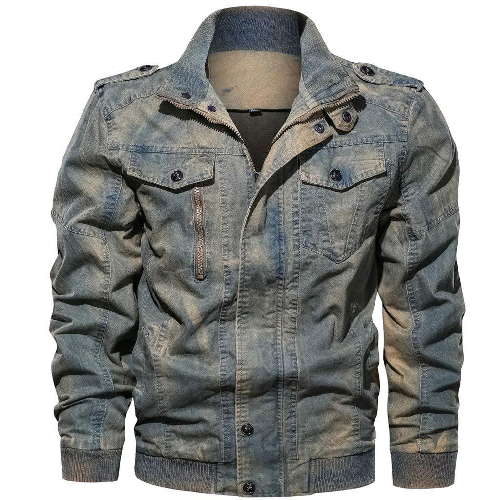 Redacel Men's Denim Jacket Classic Ripped Distressed Denim Jeans Jacket Rugged Trucker Jacket for Man (Blue,XL) by Redacel