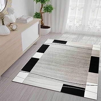 Wohnzimmer Muster | Teppich Kariert Retro Muster Meliert In Grau Weiss Schwarz