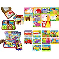 GoAppuGo Vehicles Learning Toys and Animals Learning Toys (20 Activity Cards, 130 Plastic Buttons) Kids Toys Gifts for 3 4 Year Old Boys Girls, Learning Toys for Babies Infants 3 4 Years