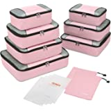Gonex Packing Cubes Set,Lightweight Travel Organizers Bags 3pcs/5pcs/9pcs Packing Cubes Set + 4 Reusable Zip Bags, Pink(9pcs Set) (Pink(9pcs Set)) - Gonex-GXGN0119I
