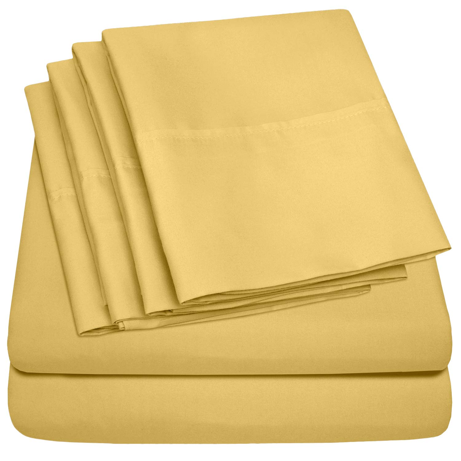 King Size Bed Sheets - 6 Piece 1500 Thread Count Fine Brushed Microfiber Deep Pocket King Sheet Set Bedding - 2 Extra Pillow Cases, Great Value, King, Yellow