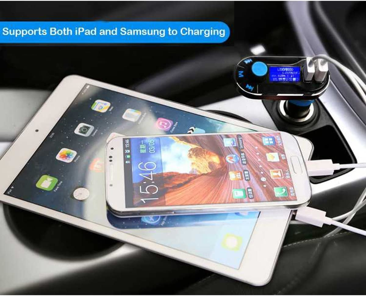 Blue Wireless in-Car Radio Bluetooth Adapter 5in1 Car Kit Music Player Hand-Free Calling with Remote AUX Cable Dual USB Support SD//TF Card for iPhone Samsung SOONHUA Car Bluetooth FM Transmitter