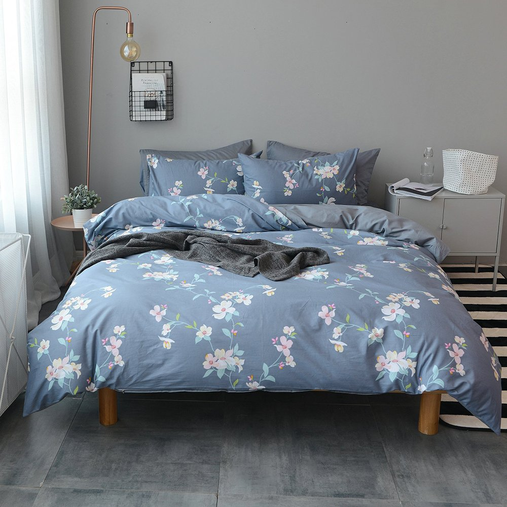 VM VOUGEMARKET Floral Duvet Cover Sets Full Queen,100% Cotton Elegant Blue Bedding Set with Hidden Zipper,3 Pieces Home Bedding Decoration for Girls,Female,Lady-Full/Queen,Rosa