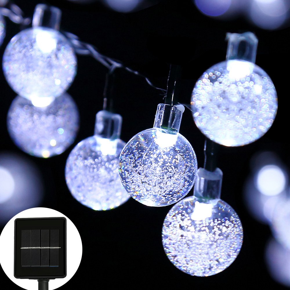207cd5bf3be1a easyDecor Globe Solar String Lights 30 LED 21ft 8 Mode Bubble Crystal Ball  Christmas Fairy String Lights for Outdoor Xmas Landscape Garden Patio Home  ...