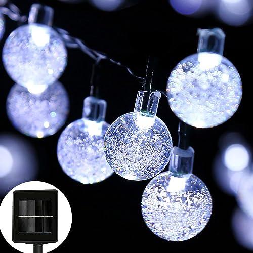 easyDecor Globe Solar String Lights 30 LED 21ft 8 Mode Bubble Crystal Ball  Christmas Fairy String - Outdoor Christmas Decorations On Clearance: Amazon.com