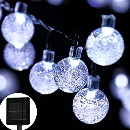 timeless design 684d9 0d9b7 easyDecor Globe Solar String Lights 30 LED 21ft 8 Mode Bubble Crystal Ball  Christmas Fairy String Lights for Outdoor Xmas Landscape Garden Patio Home  ...