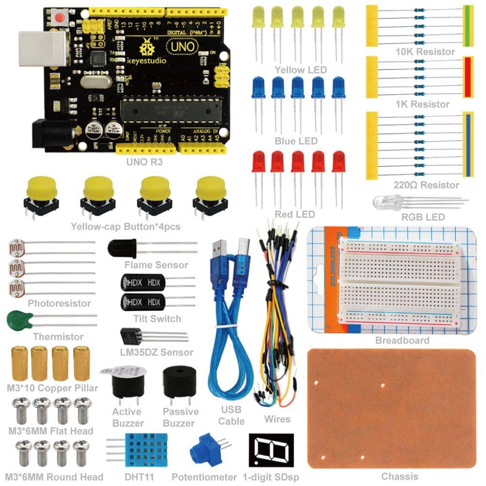 KEYESTUDIO Uno Starter Kit for Arduino, STEM Educational Gifts for Boys and Girls KS-008