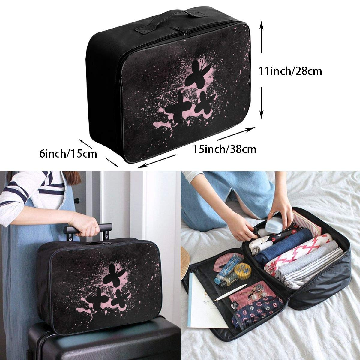 Travel Luggage Duffle Bag Lightweight Portable Handbag Butterflies Print Large Capacity Waterproof Foldable Storage Tote