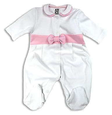 AM artmoda - Pelele - Básico - Manga Larga - para bebé niña blanco 3 mes: Amazon.es: Ropa y accesorios