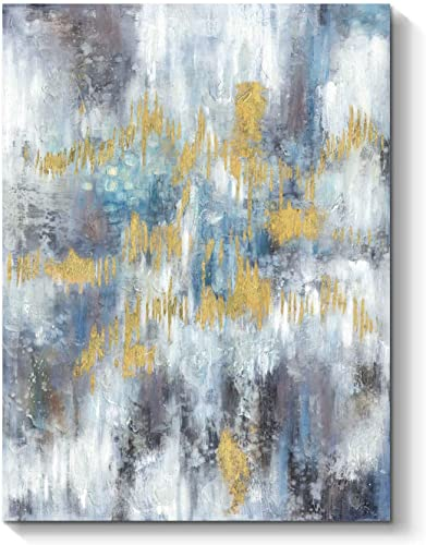 TAR TAR STUDIO Abstract Picture Modern Canvas Painting: Blue and Gold Artwork Hand Painted Wall Art