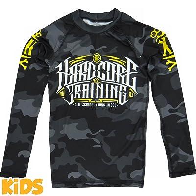 Kids Rashguard Hardcore Training Night Camo MMA Fitness Boys