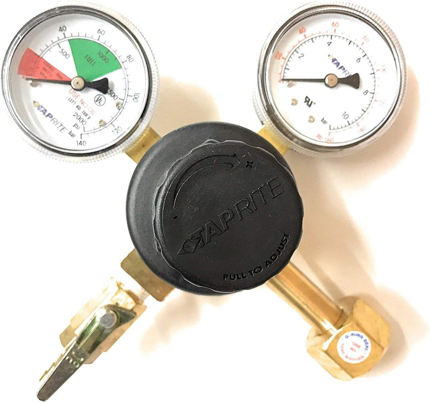 "Taprite 1/4"" Barb Outlet Primary Beer Soda Co2 Tank Tap Regulator 160# 2000# High Pressure"
