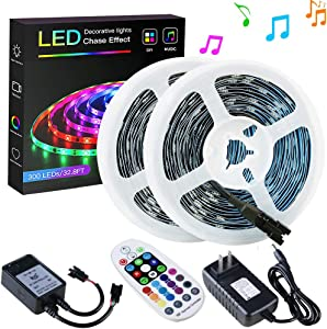 SPARKE Dreamcolor Led Strip Lights, 32.8ft/10m Music-Sync LED Tape Light, 300 Pixels RGB 5050 WS2811B Non-Waterproof Strip with RF Remote and Power Supply, Chasing Effect for Home Interior Parties