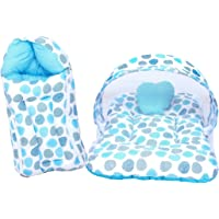 RBC RIYA R Baby Mattress with Mosquito Net & Sleeping Bag Combo 0-6 Months (0-6 Months, Blue Dot)