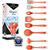 Home Kitchen Tools Spatula,Turner Utensil Set (8 Pcs) by Diamant Blue,Food Grade Silicone (Orange)