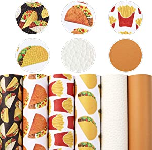 Food Series Printed Synthetic Leather Fabric Lychee Grain Faux Leather Sheets 6Pcs 7.7
