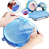 Silicone Stretch Lids, 6-Pack Reusable Various Sizes and Shape Cover Lids for Bowl, Eco-Friendly Heat Resistant, use to Refrigerator Microwave and Dishwasher (blue)