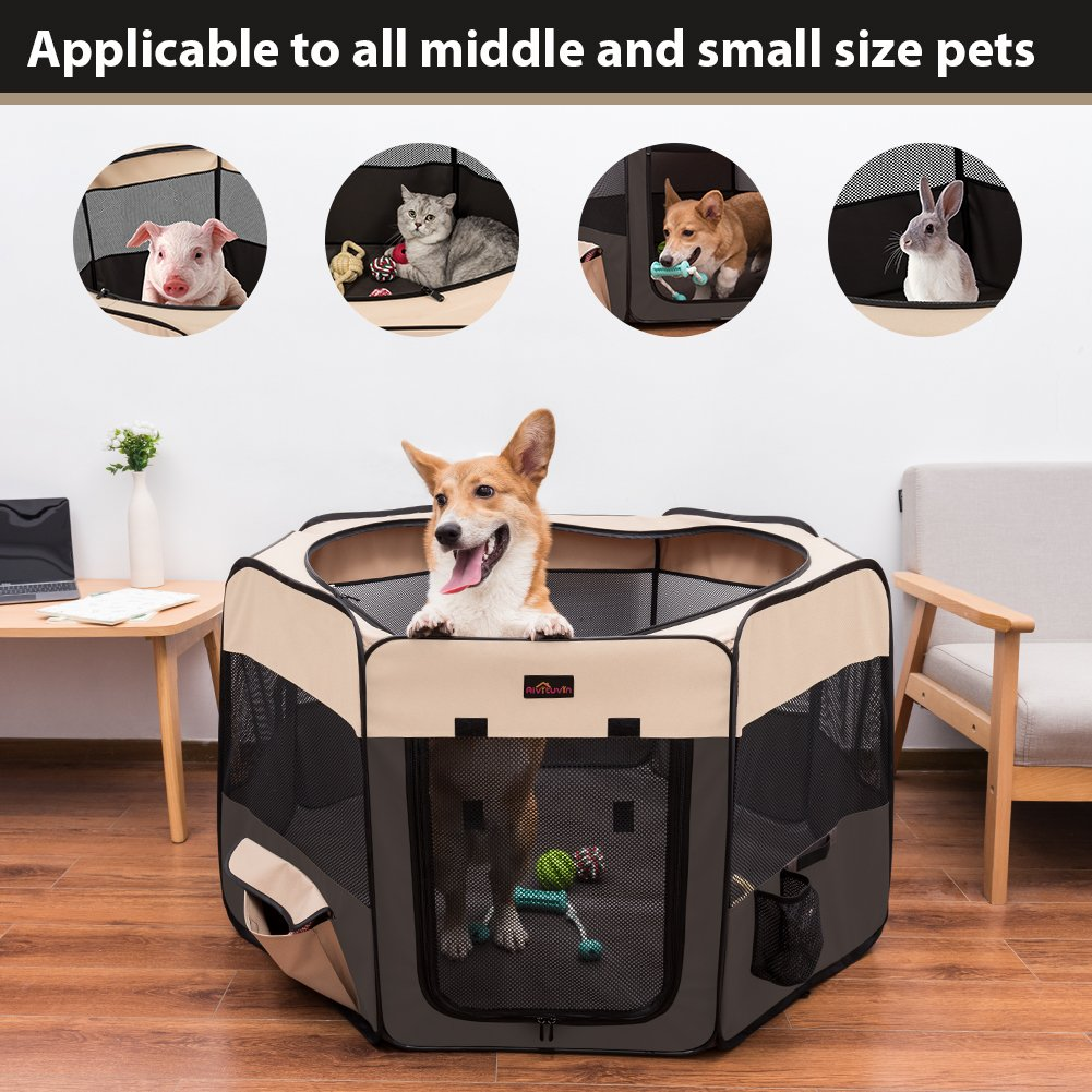 Aivituvin Pet Playpen 45'' Portable Foldable Exercise Pen Compatible Small & Large Dog,Kitten,Rabbit,Puppy-Oxford Cage & Kennel Suit Compatible Indoor/Outdoor Use Removable Shade Cover-Durable (Brown) by Aivituvin (Image #5)
