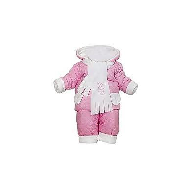 fille combinaison thermoanzug avec capuche matelassé hiver rose 3tlg KD1