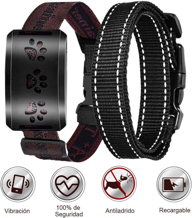 Collar Antiladridos Para Perros - Collar Anti-Ladridos Sonido/Vibración/Sensibilidad, Collar Ajustable Para Perros Pequeños, Medianos y Grandes, Viene con 2 Collares de Nylon Luminosos Intercambiables