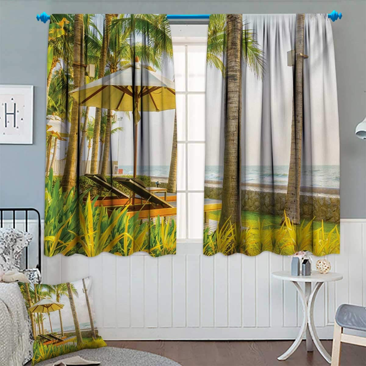 "Seaside Room Darkening Curtains Palm Trees Umbrella and Chairs Around Swimming Pool in Hotel Resort Image Decor Curtains by 72"" W x 84"" L Yellow Green and Tan"