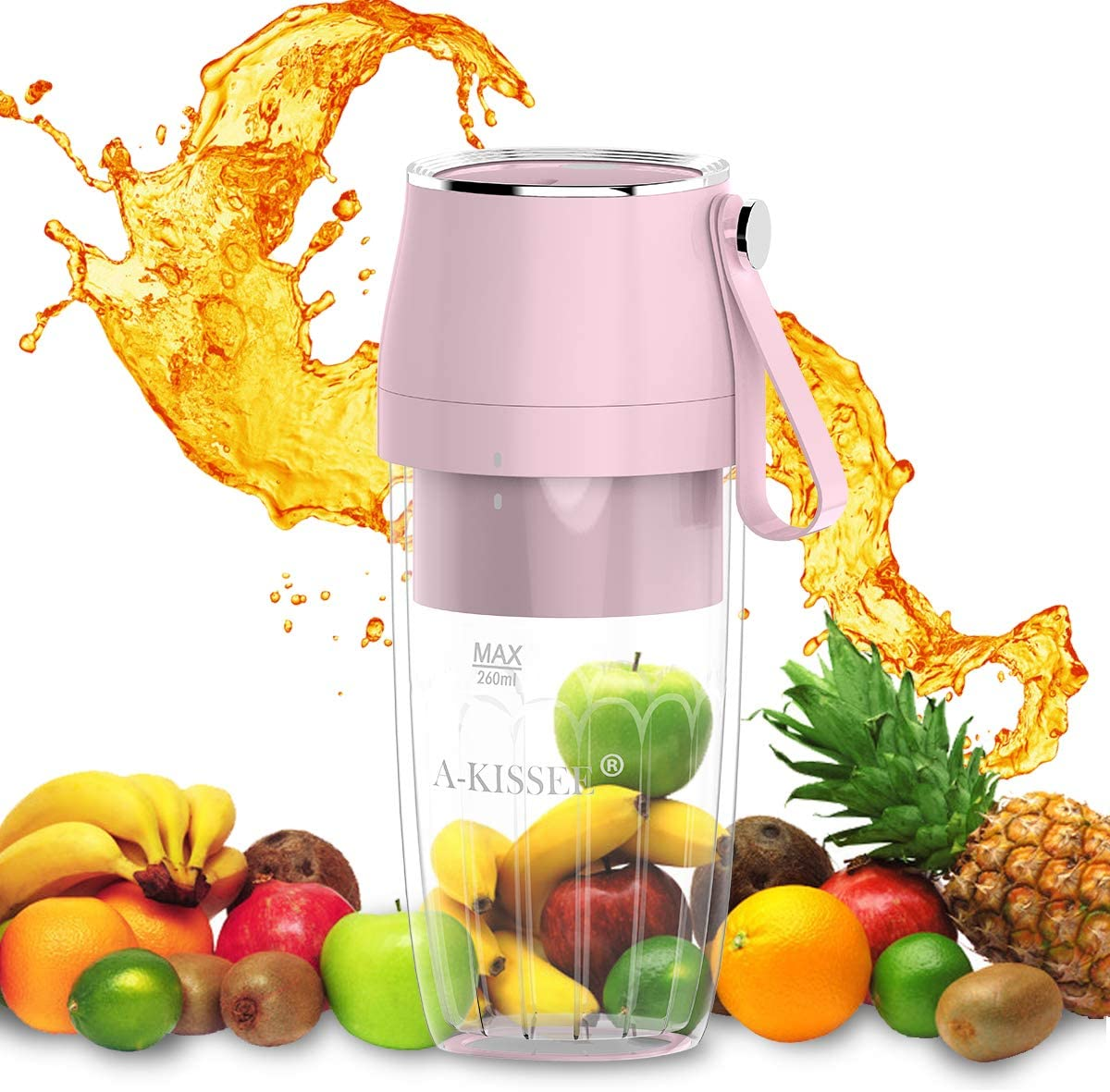 Portable Charging Juicer,Shakes and Smoothies,Cordless Personal Size Blenders With USB Rechargeable,Juicer Magnetic Charging Plug,Juicer Mixer Cup For,Office,Sports,Travel,Outdoors,260ml,BPA Free