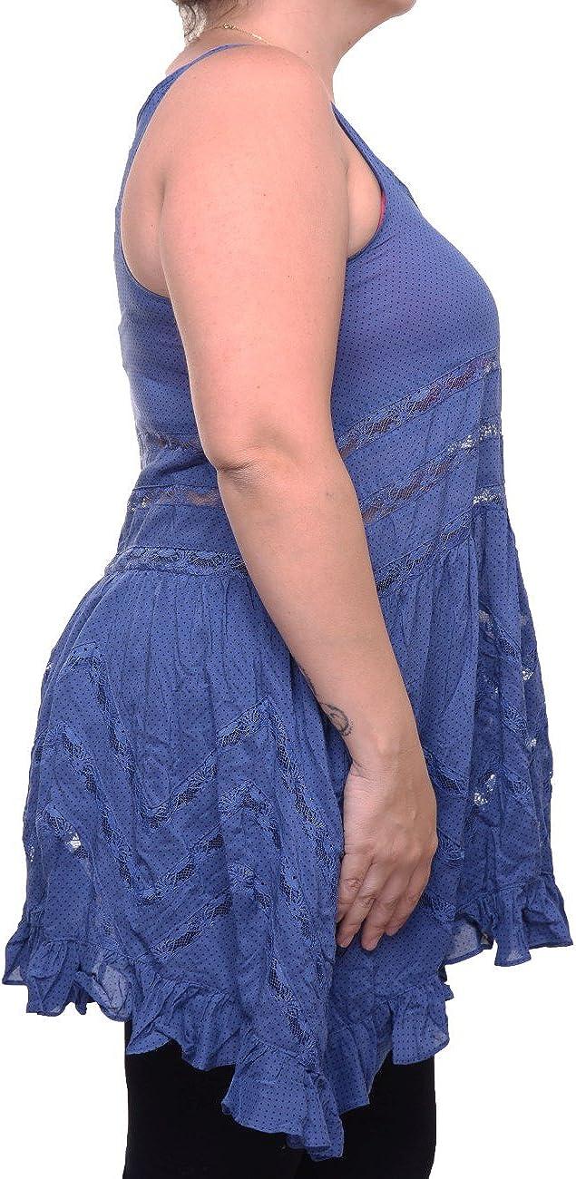 Free People Womens Lace Asymmetric Slip Dress Blue S