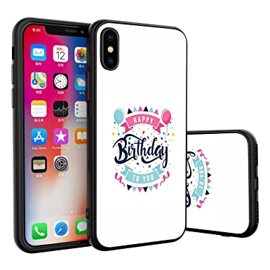 PopBest Happy Pink Birthday Balloon IPhone X 10 Black Case Phone For