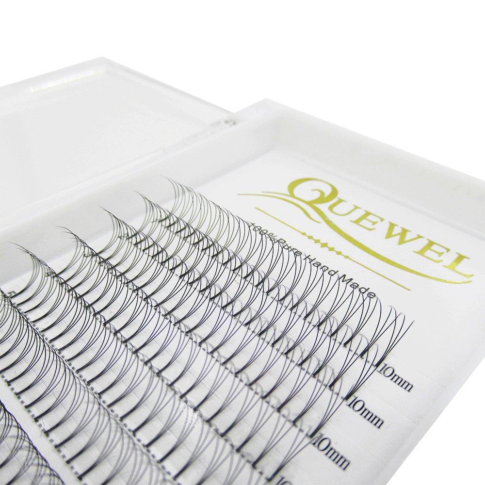 Quewel lash 3D 11mm predefinidos volumen Fans pestañas extensiones venta por mayor espesor 0.10 C-se encrespa las pestañas para maquillaje y belleza (3D Curl C, 11mm)