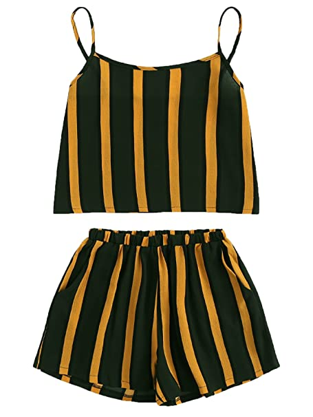 639c71c0f8 SheIn Women's 2 Pieces Set Contrast Striped Cami Top with Shorts Outfits  Black Small