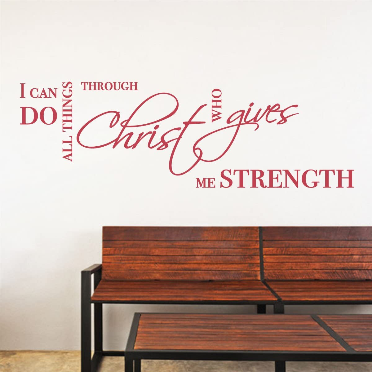 All Things Through Christ Strength Wall Sticker Bible Quote Popular Removable Vinyl Religious Jesus Words Decal (Dahlia Red, 9x36 inches)