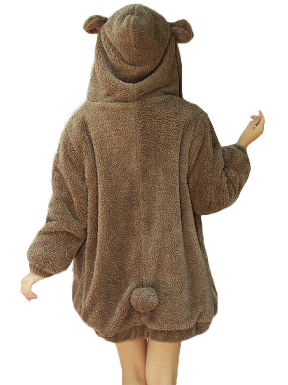 DSNOW Women Cute Bear Ear Jacket Teddy Fleece Hoodie Zip Coat Elastic Cuff Outwear