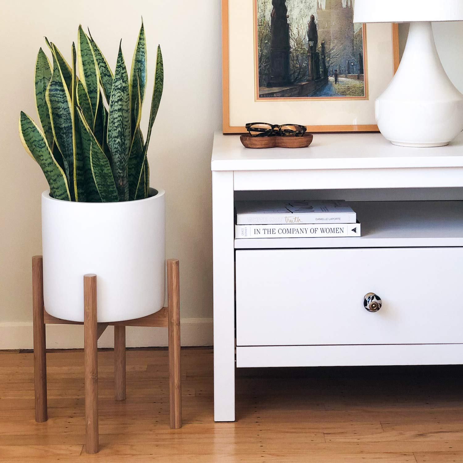 STNDRD. Indoor Plant Stand: Mid-Century Modern Bamboo Holder for Your Potted Plants & Flowers. Fits 10'' Round Planters